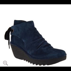 FLY London blue suede booties sz 10